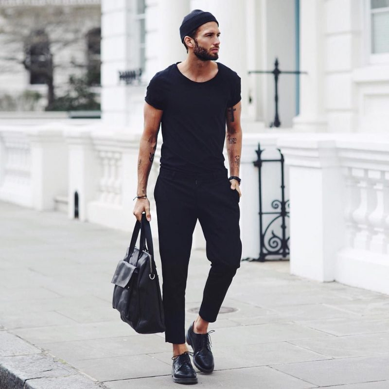 Black fisherman beanie hat, black tee, black trousers, leather shoes 1