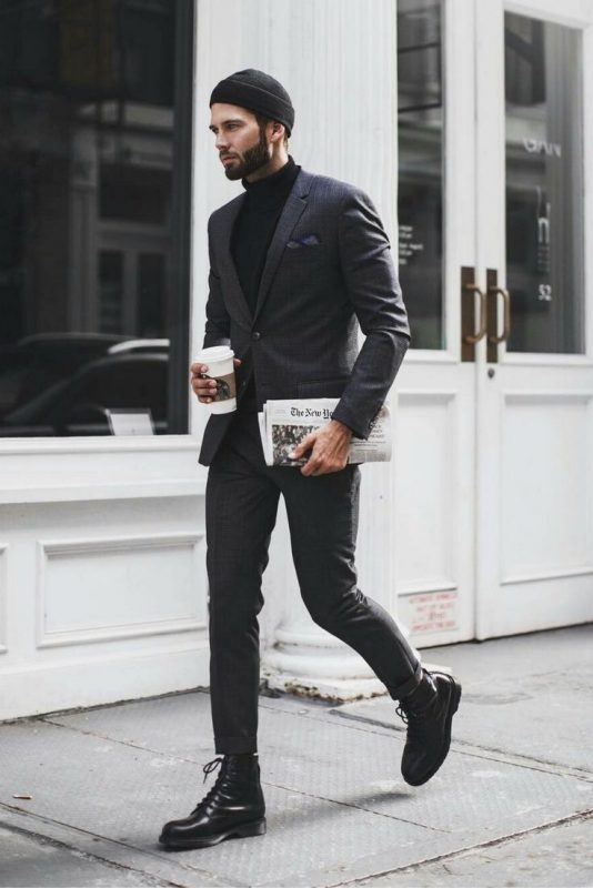 Black cuffed beanie hat, turtleneck sweater, checked suit, black leather boots 1