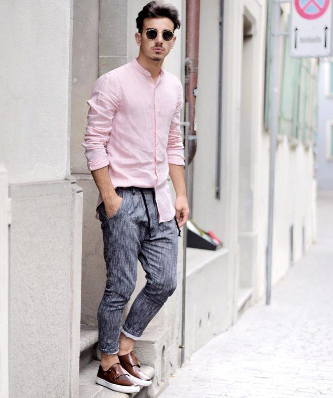 Pink mandarin collar shirt, gray print trousers, double monk strap sneaker 1