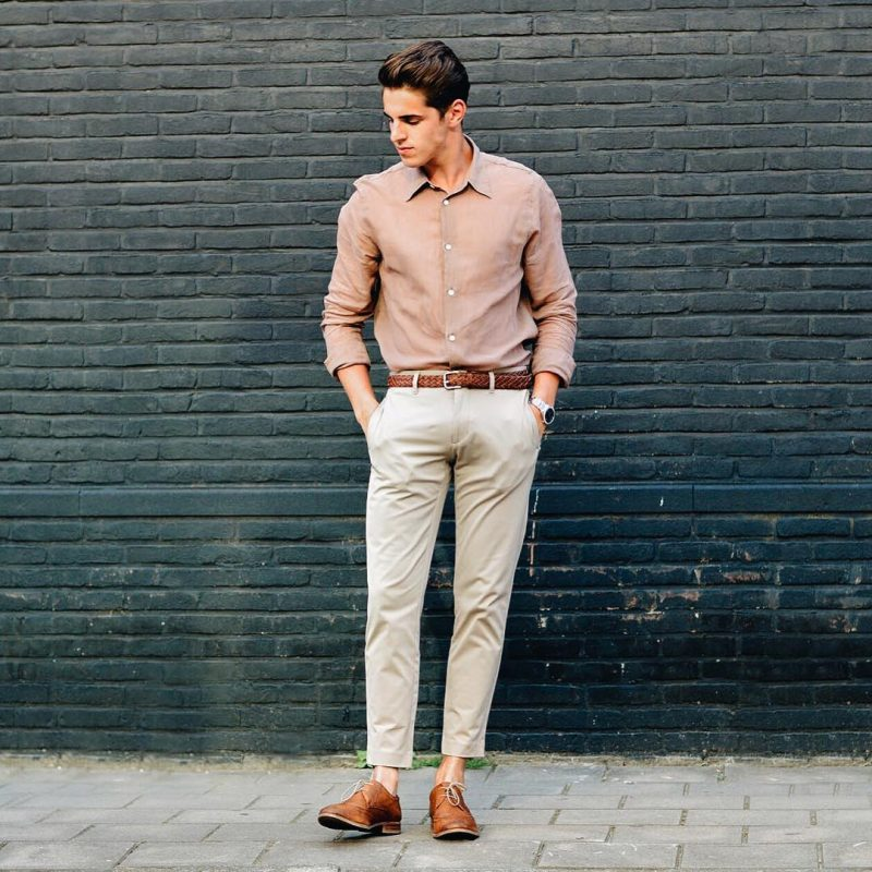Brown shirt, gray khaki pants, brown braided leather belt, brown leather shoes 1