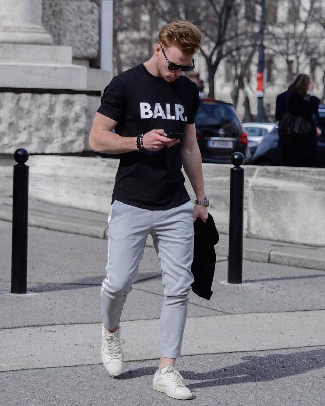BALR. black tee, gray trousers, white sneaker 1