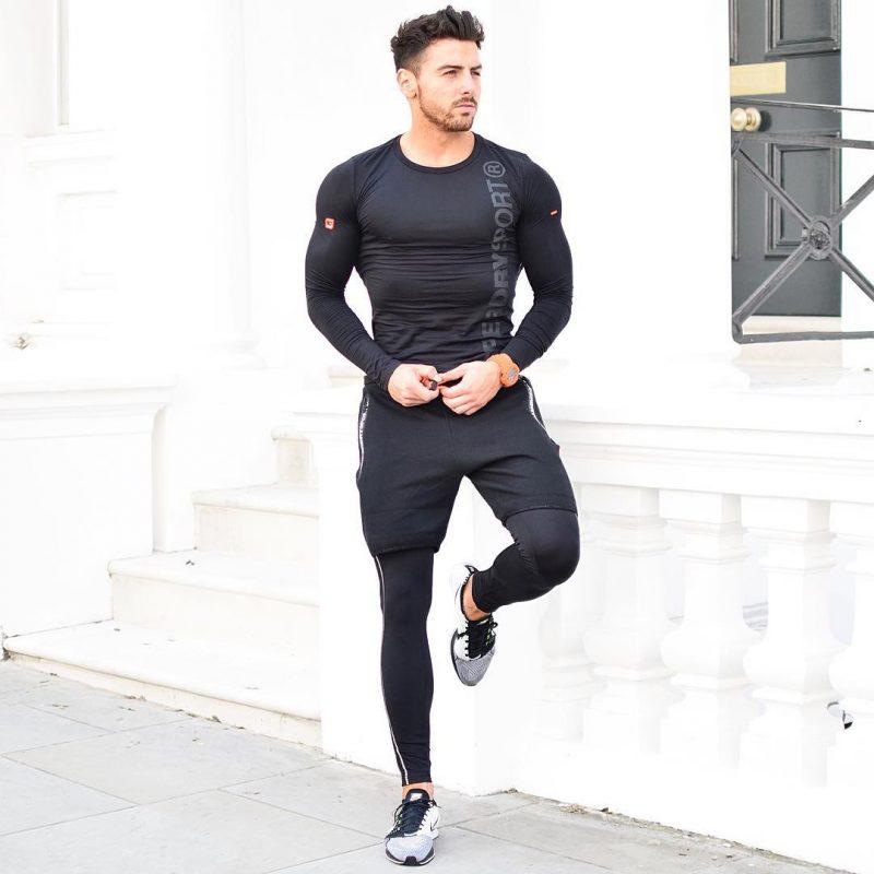 Black compression t-shirt, gym pants, compression pants, training shoes 1