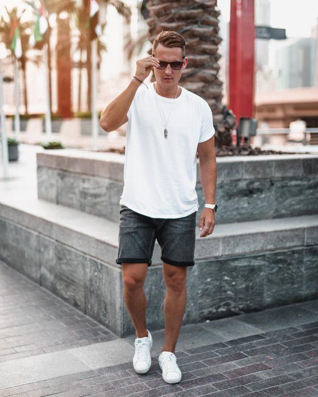 White tee, short pants, white sneaker 1