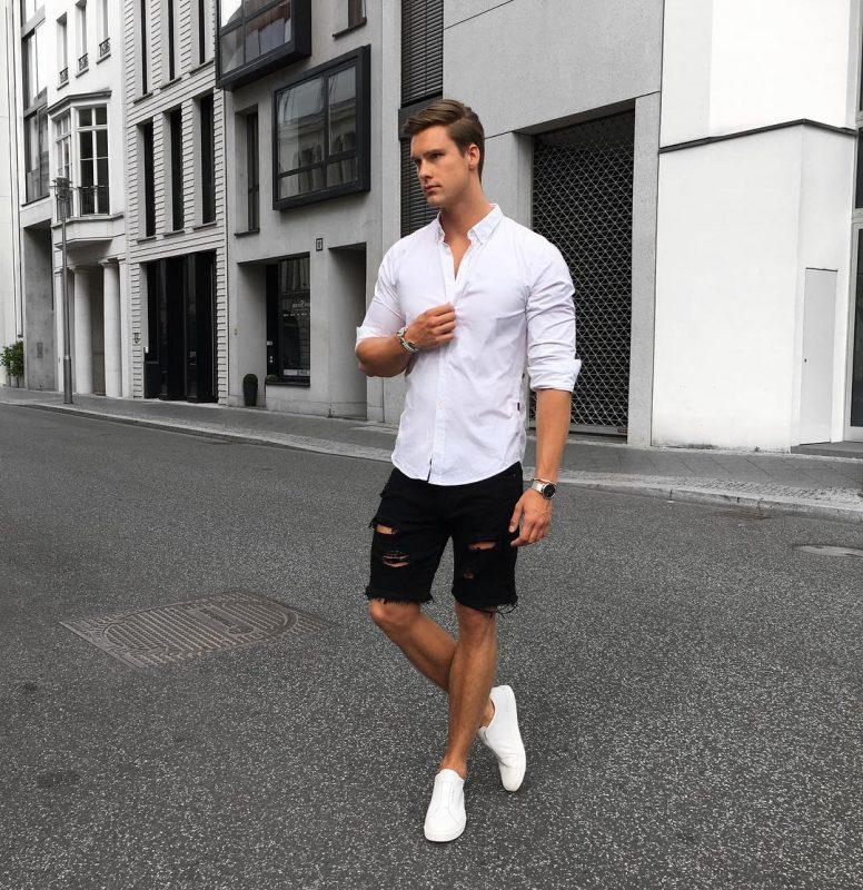 White shirt, black short jeans, white sneaker 1