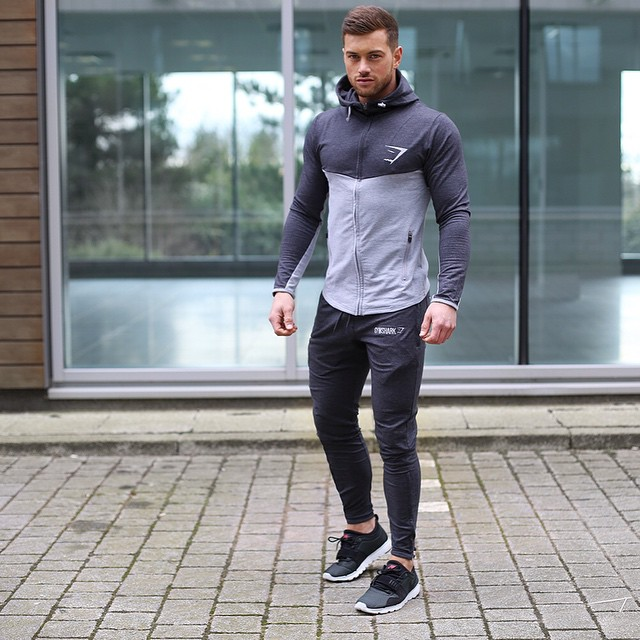 Sport hoodie jacket, sweatpants, training shoes 1