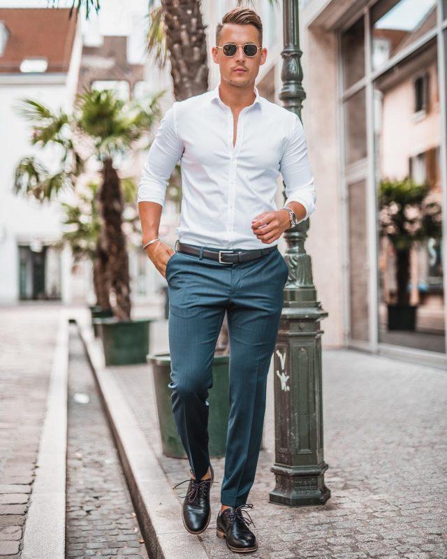 White button down shirt, blue dress pants, black leather belt, leather shoes 1