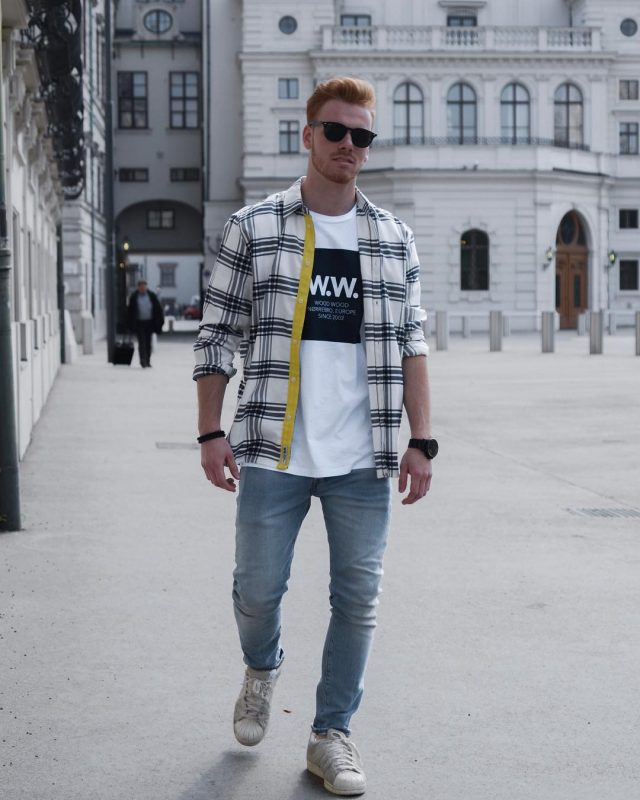 White print tee, checked shirt, blue jeans, sneaker 1