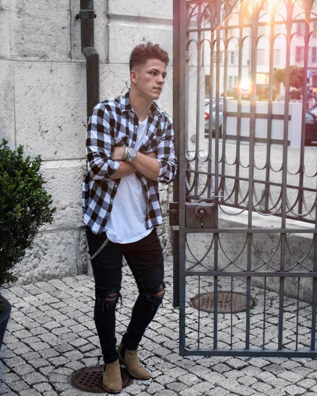 White tee, checked shirt, black ripped jeans, Chelsea boots 1