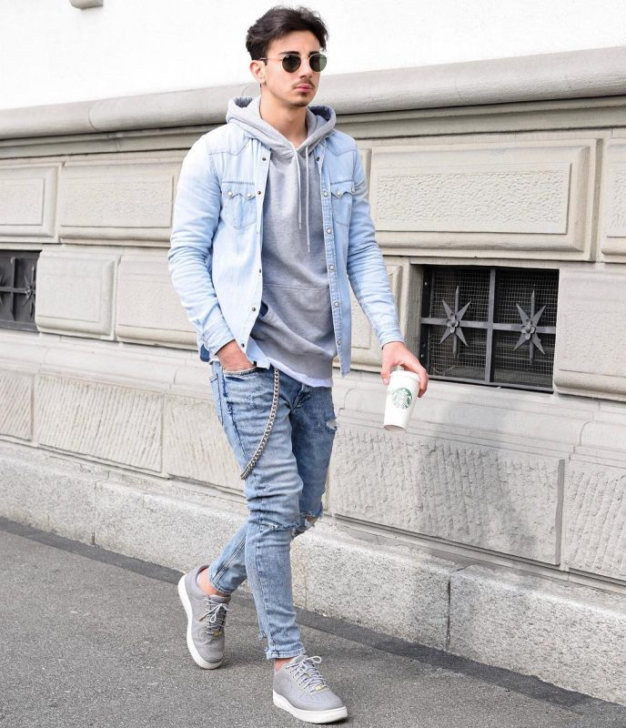 Gray hooded sweatshirt, denim jacket, jeans, sneaker 1