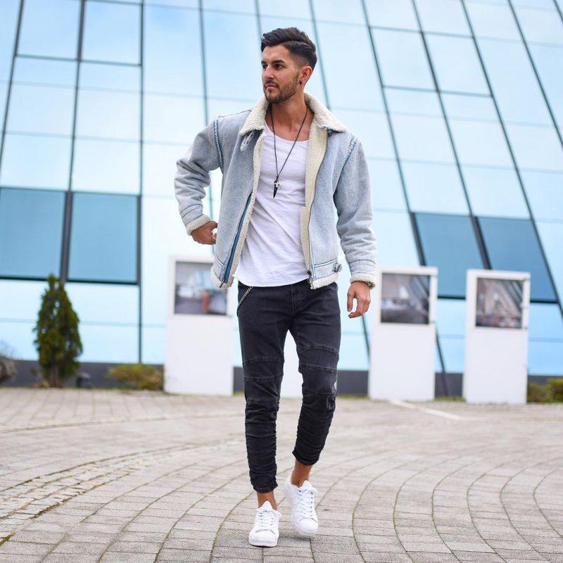 White singlet, denim shearling jacket, black jeans, white sneaker 1