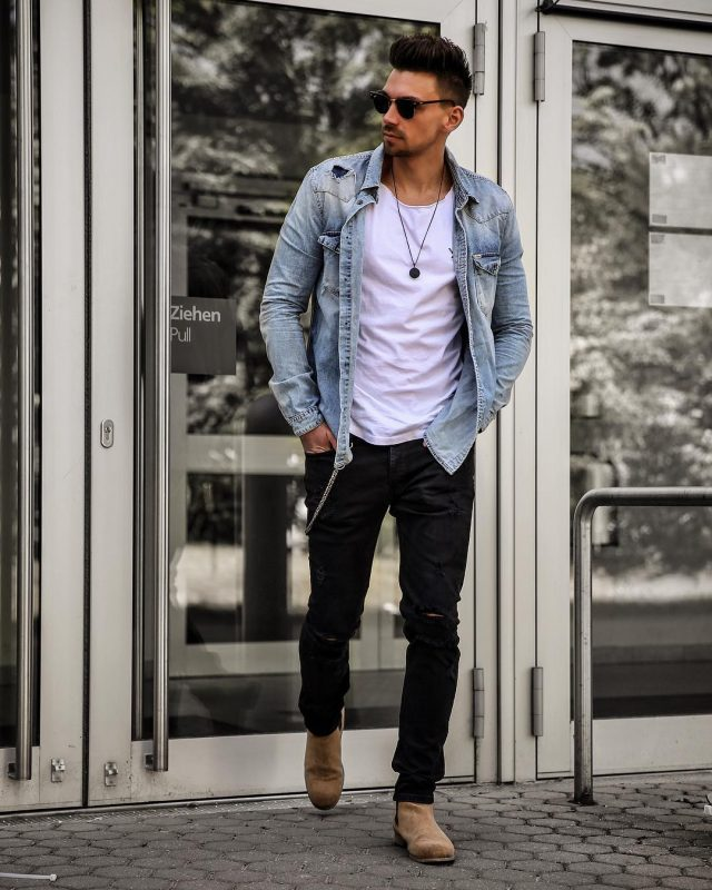 White tee, denim jacket, black jeans, Chelsea boots 1
