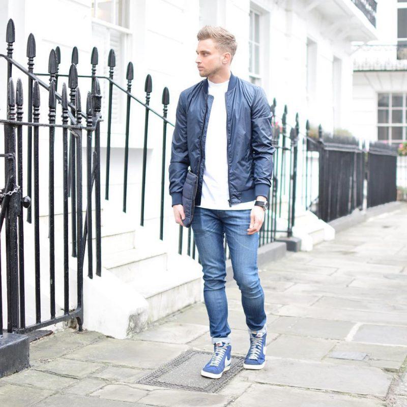 White tee, blue bomber jacket, blue jeans, blue sneaker 1