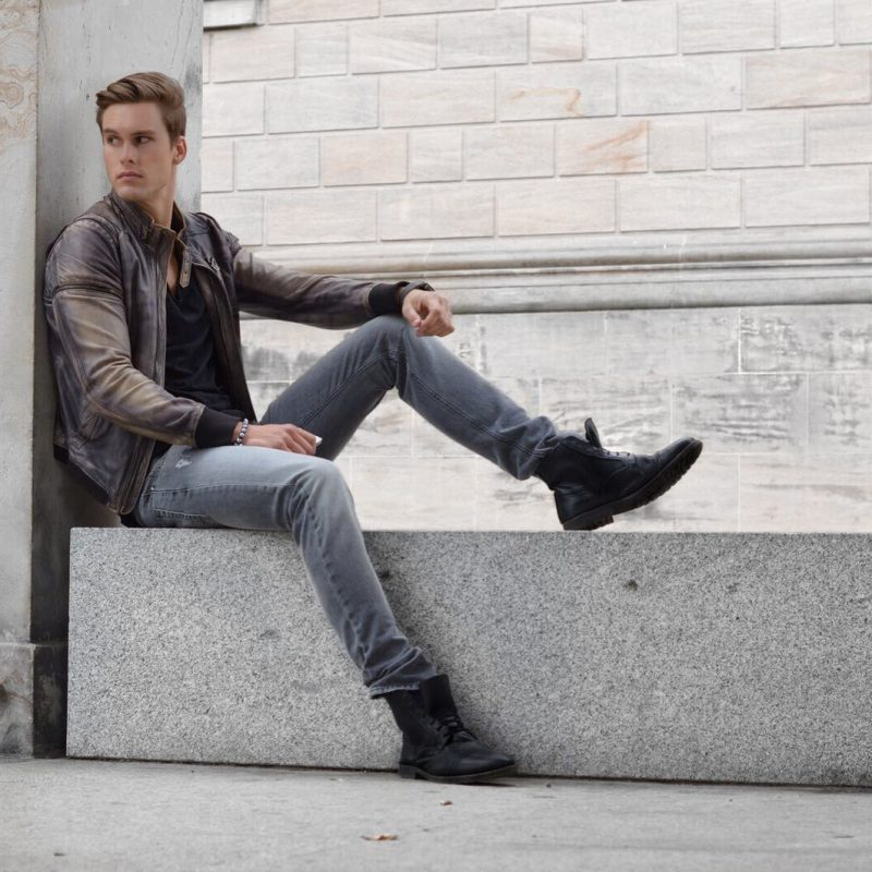Brown distressed leather jacket, black singlet, jeans, leather boots 1