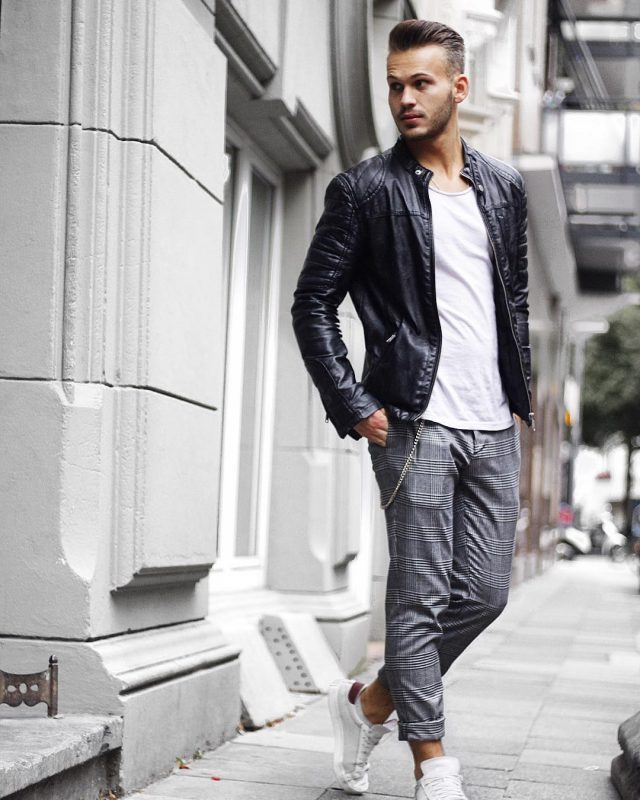 Black leather biker jacket, white tee, checked dress pants, sneaker 1