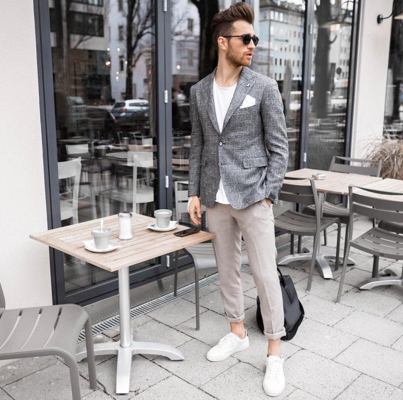 Gray wool blazer, white tee, khaki pants, white sneaker 1