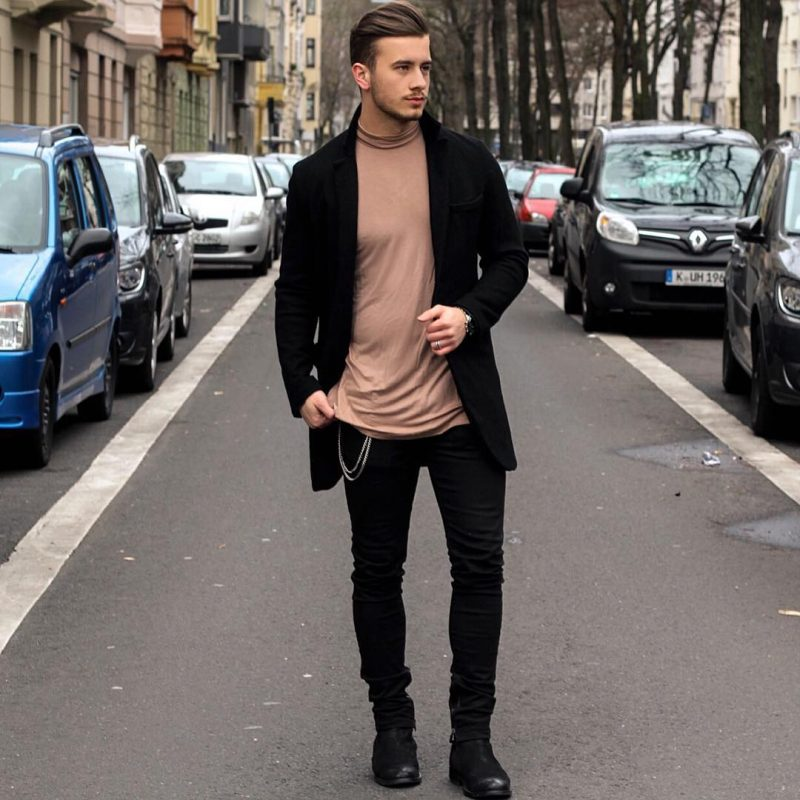 Turtleneck brown sweater, black long coat, black jeans, leather boots 1