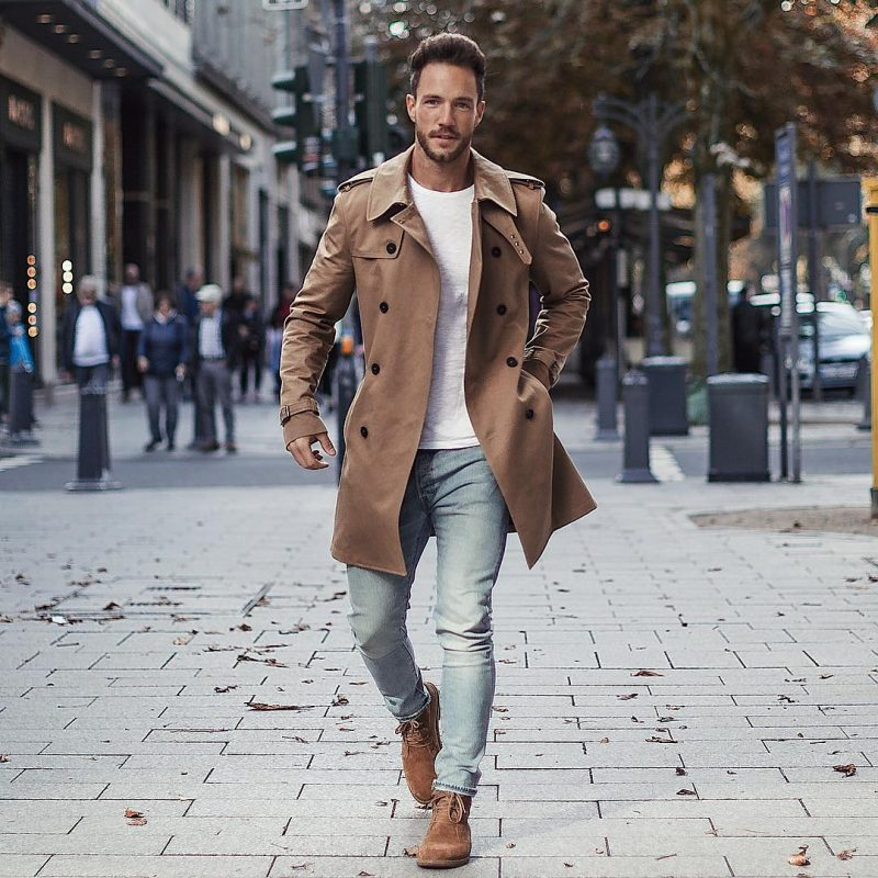 Brown peacoat, white tee, light blue jeans, suede boots 1