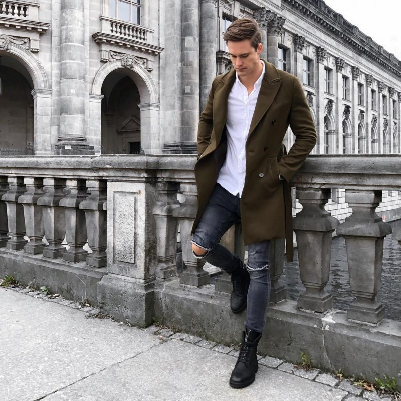 Olive green long coat, white button down shirt, ripped jeans, leather boots 1