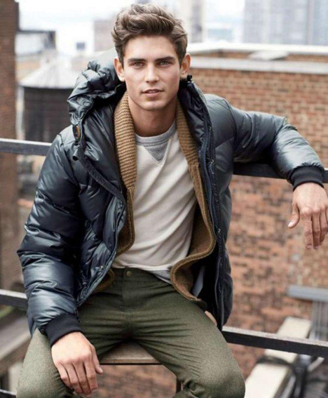 Puffer jacket, cardigan, gray sweater, wool pants 1