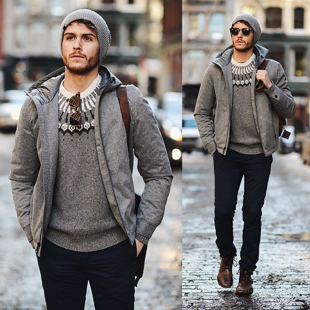 Hooded jacket, sweater, black jeans, brown leather shoes, beanie hat 1