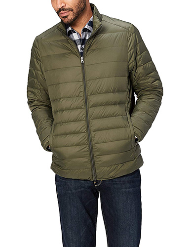 Olive Green Amazon Essentials Men's Lightweight Water-Resistant Packable Down Jacket 1