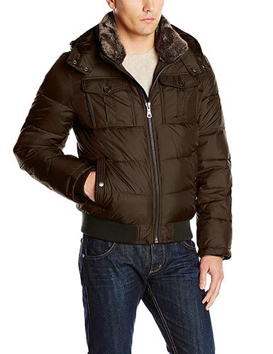 Olive Green Tommy Hilfiger Men's Nylon Hooded Puffer Bomber Jacket 1