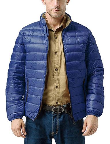 Blue ZSHOW Men's Lightweight Stand Collar Packable Down Jacket 1