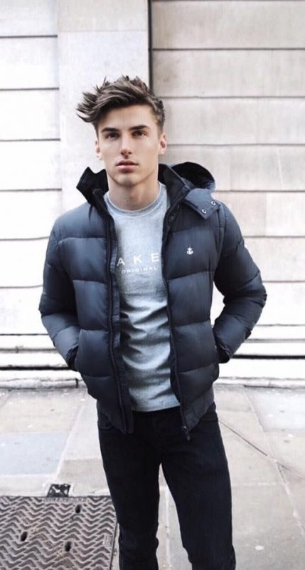 Black puffer jacket, gray tee, blue jeans 1