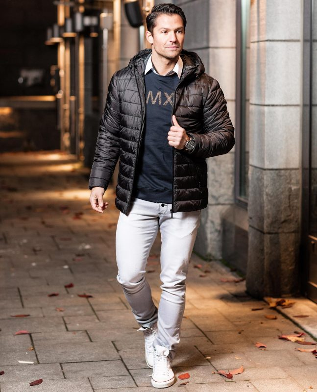 White shirt, black down jacket, print tee, chinos 1