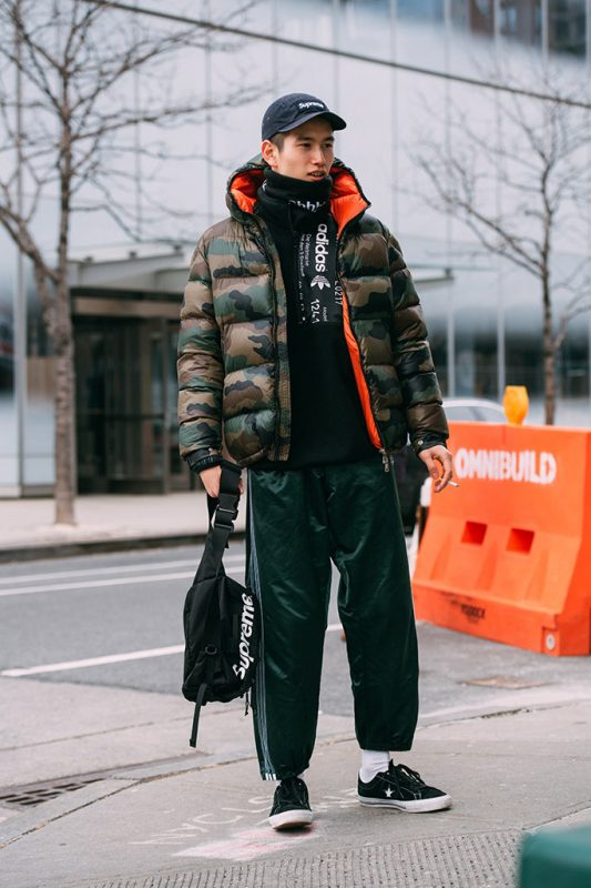 Camouflage puffer jacket, sport pants, scarf, sweater 1