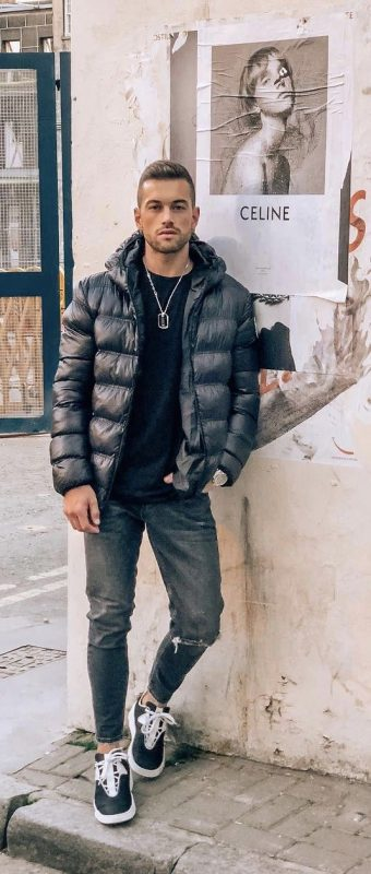 Black down jacket, black tee, jeans, sneaker 1