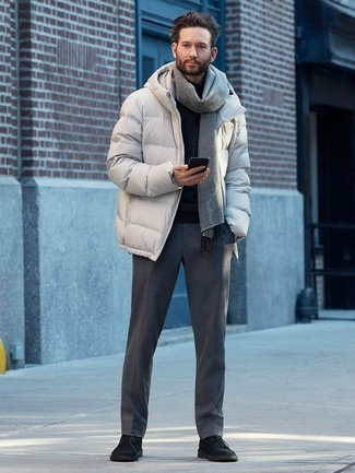 White puffer jacket, black tee, scarf, wool dress pants 1