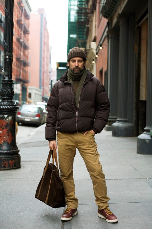 Brown down jacket, khaki pants, sweater, scarf, beanie hat 1