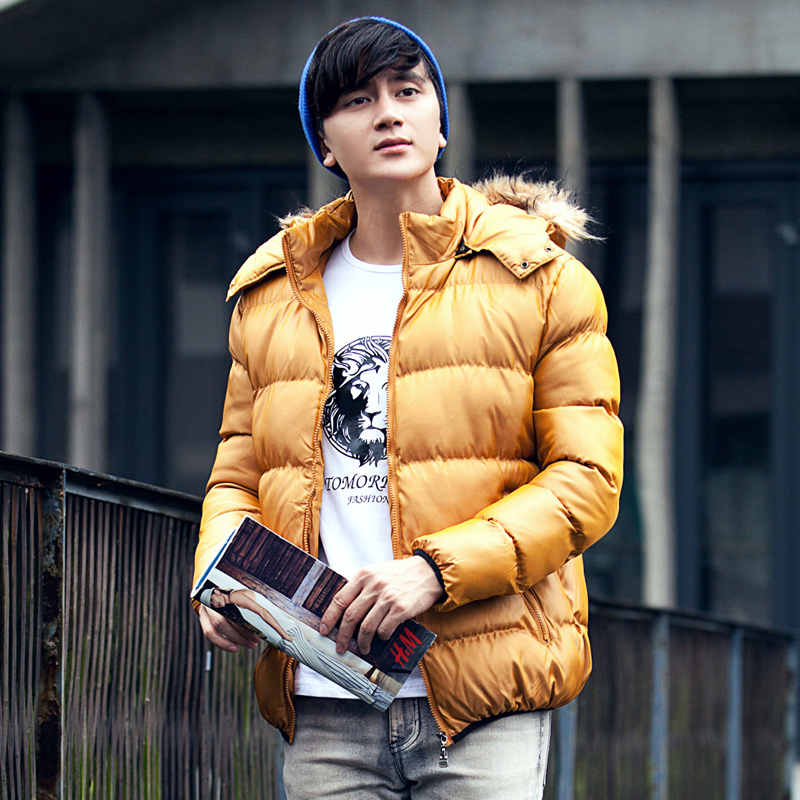 Beanie hat, yellow down jacket, white t shirt, jeans 1