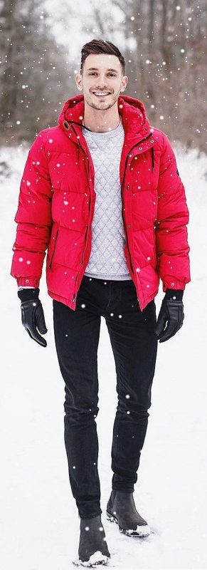 Red puffer jacket, sweater, black jeans, leather gloves, Chelsea boots 1