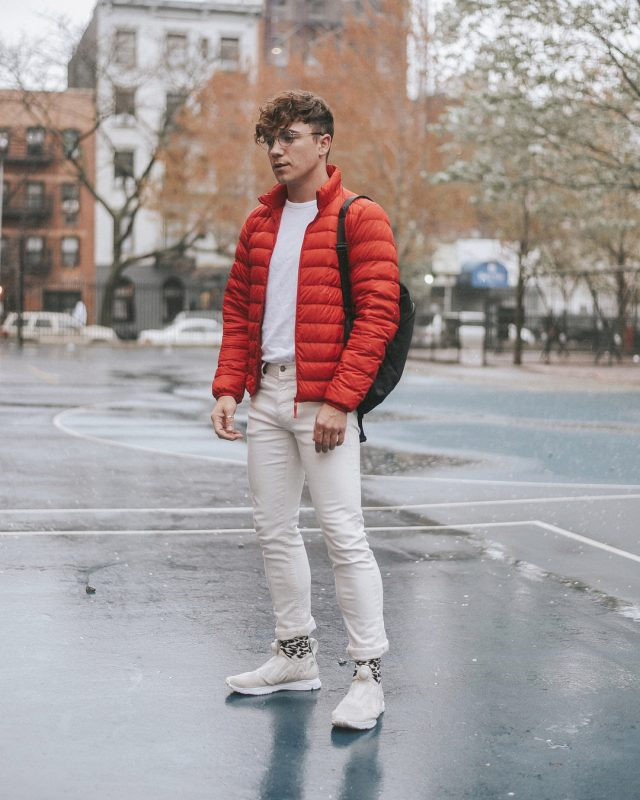 Red puffer jacket, white t shirt, white chinos, sneaker 1