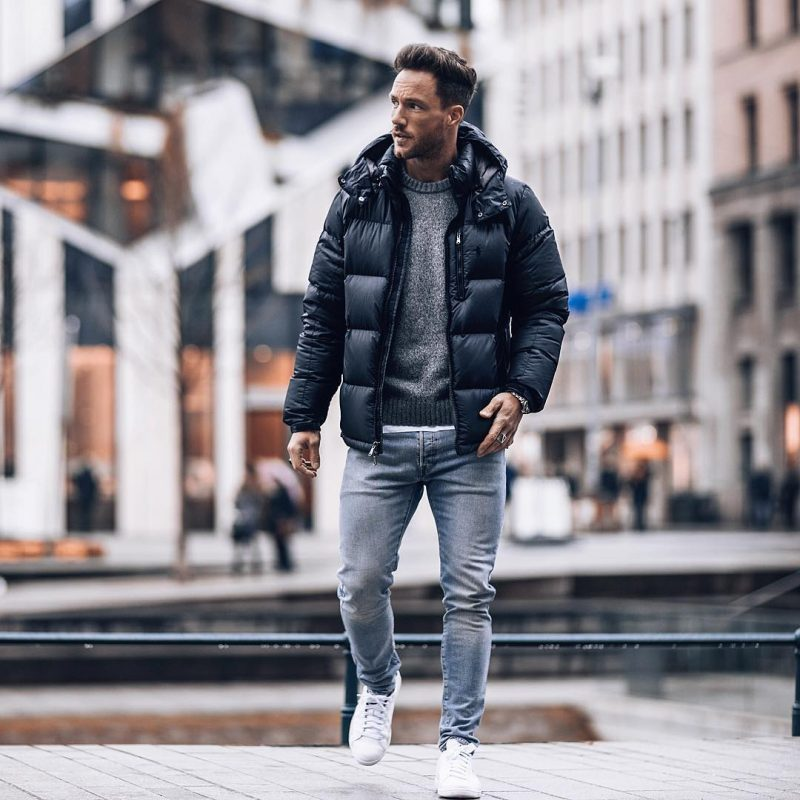 Black down jacket, gray sweater, white t shirt, jeans, white sneaker 1