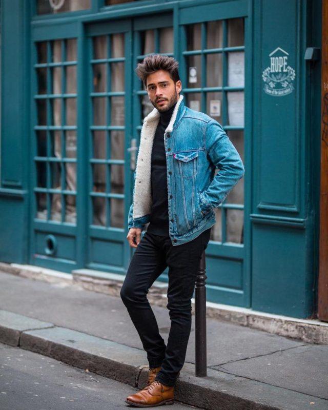 Denim sherpa jacket, turtleneck sweater, suit pants, brown leather boots 1