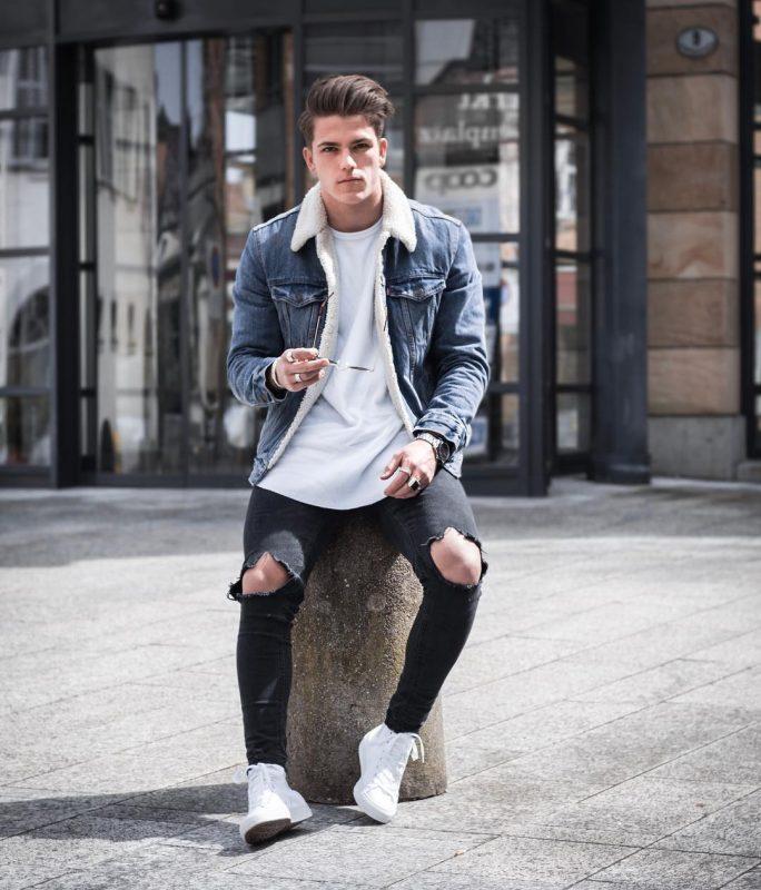 Denim sherpa coat, white t-shirt, black jeans, white sneaker 1