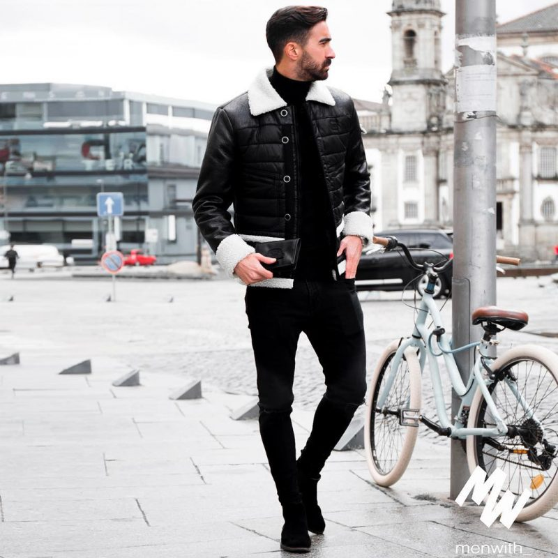 Leather shearling coat, sweater, black jeans, suede boots 1
