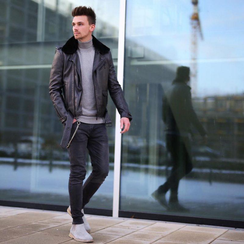 Shearling leather biker jacket, sweater, jeans, Chelsea boots 1