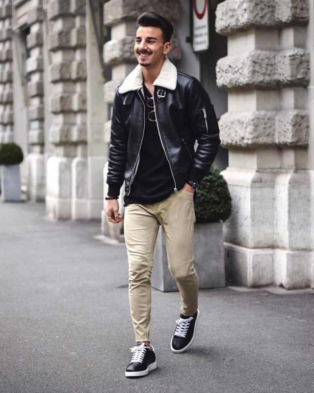 Leather shearling coat, black t-shirt, chinos, black sneaker 1