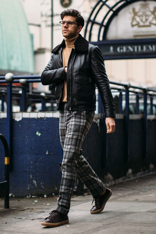 Leather shearling jacket, sweater, checked pants, sneaker 1