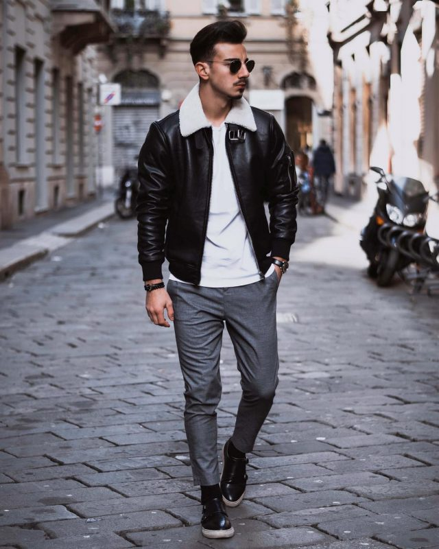 Shearling leather jacket,white t-shirt, wool suit pants, sneaker 1