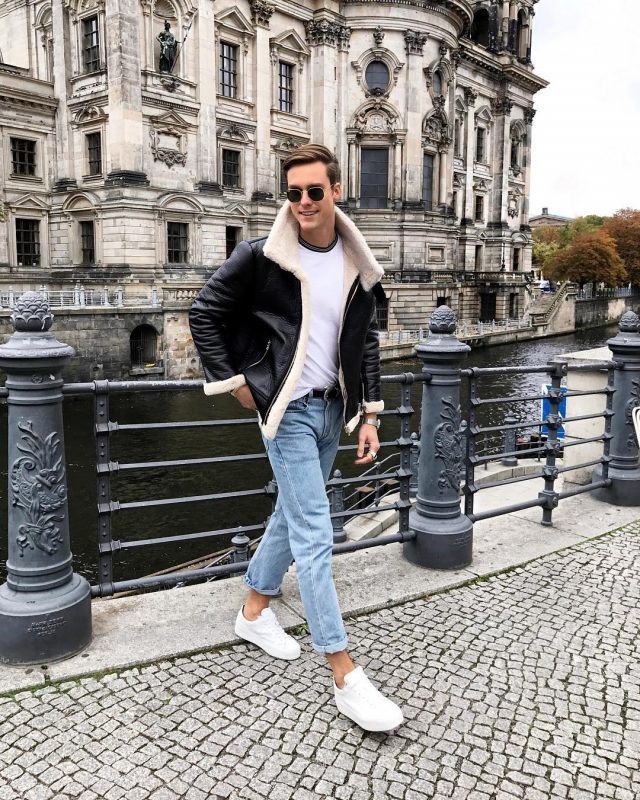 Leather shearling coat, white t-shirt, blue jeans, white sneaker 1