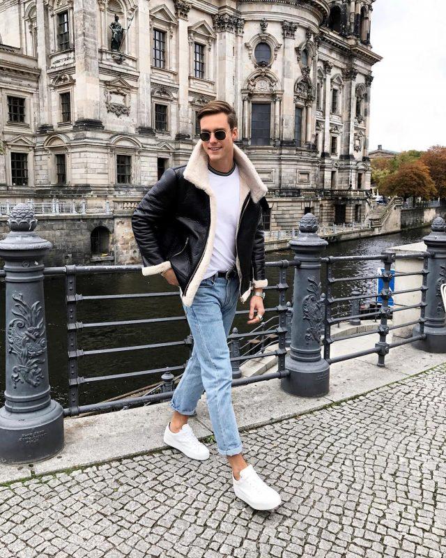Leather shearling coat, white t-shirt, blue jeans, white sneaker 1