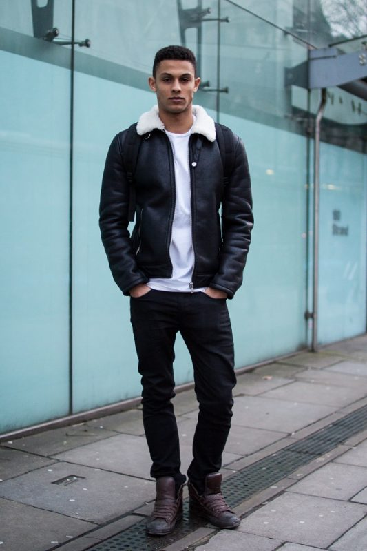 Shearling leather jacket, white t-shirt, black pants, brown sneaker 1