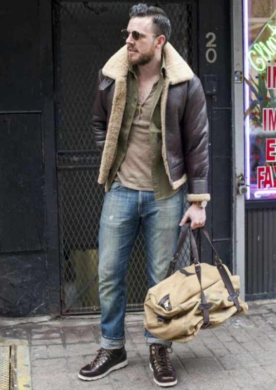 Dark brown sheepskin leather coat, green shirt, t-shirt, jeans, leather boots 1