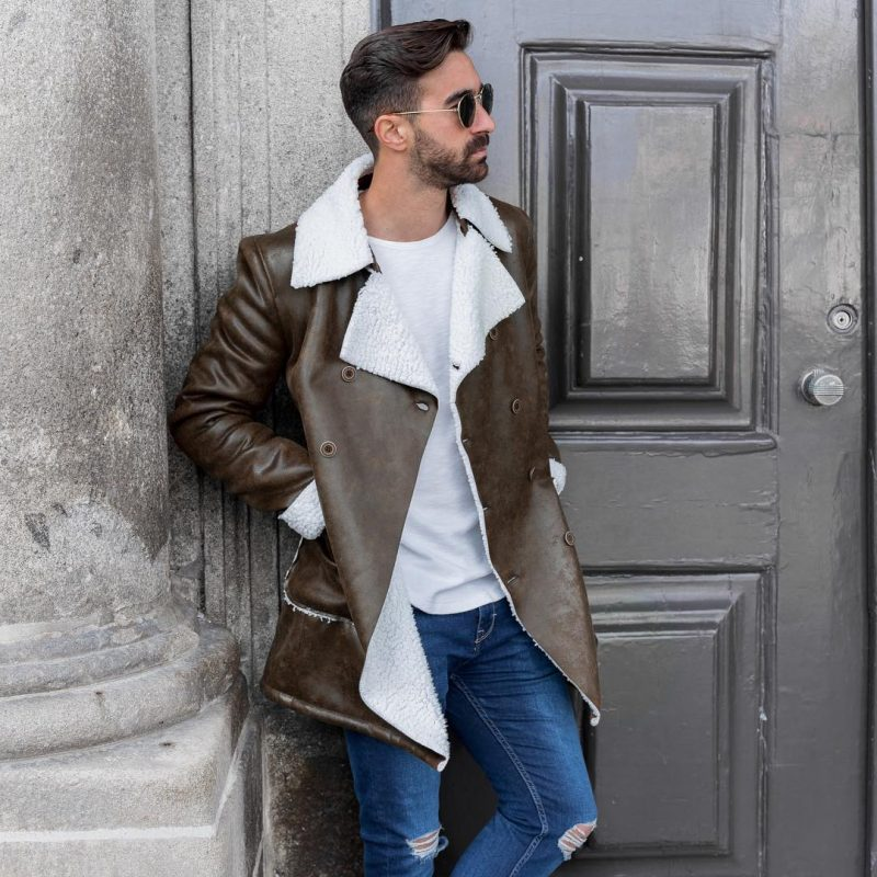 Dark brown sheepskin leather overcoat, white t-shirt, blue jeans 1