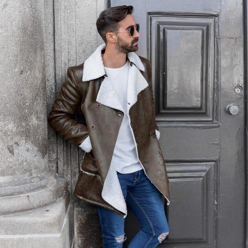 Dark brown sheepskin leather overcoat, white t-shirt, blue jeans 1